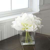 Pure Garden Lily Floral Arrangement with Glass Vase - Cream