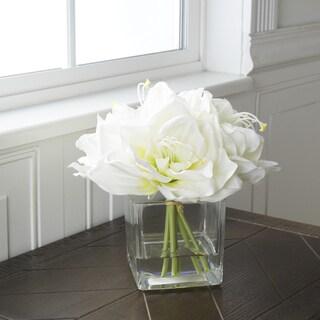 Pure Garden Lily Floral Arrangement with Glass Vase - Cream