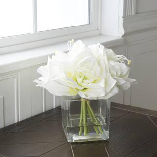 Buy flowers artificial plants online at overstock our best pure garden lily floral arrangement with glass vase cream mightylinksfo