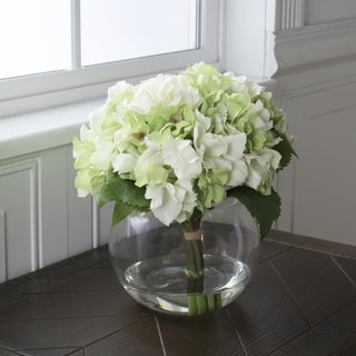 Pure Garden Hydrangea Floral Arrangement with Glass Vase - Green