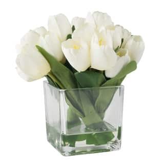 Pure Garden Tulip Floral Arrangement with Glass Vase - Cream