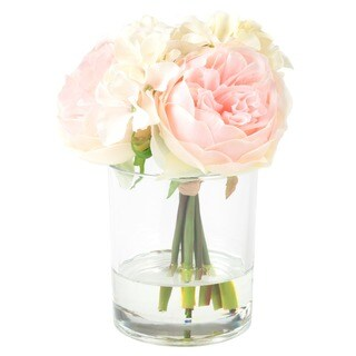 Pure Garden Hydrangea and Rose Floral Arrangement - Pink and Cream