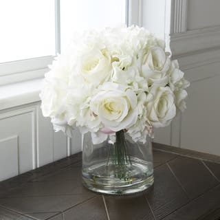 Pure Garden Hydrangea and Rose Floral Arrangement with Vase - Cream|https://ak1.ostkcdn.com/images/products/12524522/P19329462.jpg?impolicy=medium