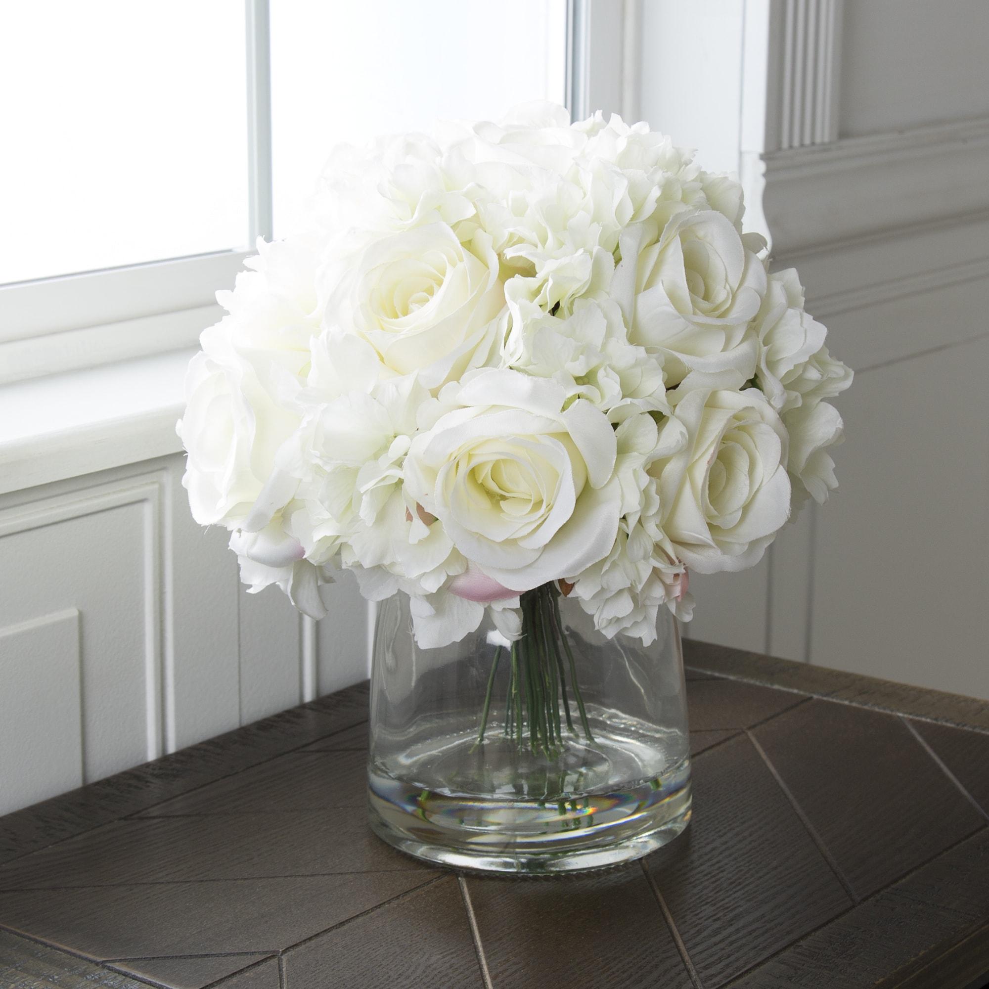 c373fae7c18f Pure Garden Hydrangea and Rose Floral Arrangement with Vase Cream ...