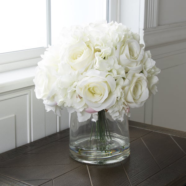 Shop Pure Garden Hydrangea And Rose Floral Arrangement With Vase
