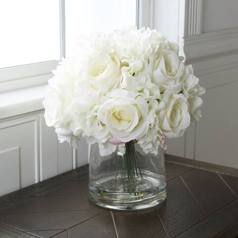 Pure Garden Hydrangea and Rose Floral Arrangement with Vase - Cream - 10 x 10 x 11.5