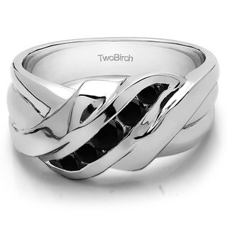 TwoBirch Sterling Silver Swirl StyleMen's Wedding Ring With Black Diamonds (0.25 Cts.)
