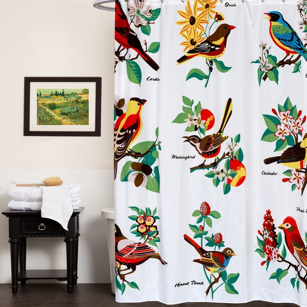 Bird Patterned Fabric 70 Inch X 72 Shower Curtain
