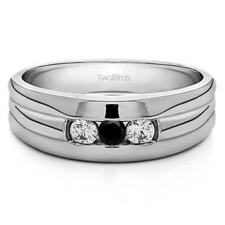 TwoBirch Sterling Silver Three Stone Men's Wedding Ring With Black And White Diamonds(0.3 Cts., black, I1-I2)