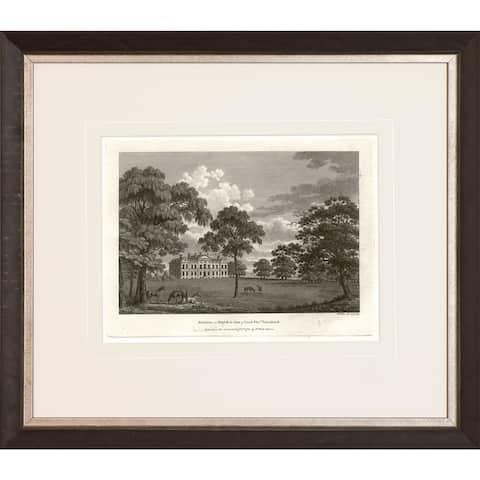 'Watt's Views in Sepia' Walnut Finish Framed Fine Art Giclee Print - Walnut Finish and Antique Silver Inner Scoop