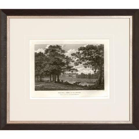 'Watt's Views' Sepia Framed Art Print - Walnut Finish and Antique Silver Inner Scoop