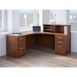 Bush Business Furniture 42W Corner Desk, Returns and Storage in Cherry - brown