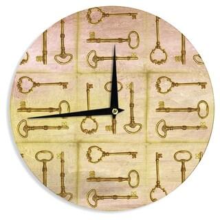 KESS InHouse Marianna Tankelevich 'Secret Keys' Tan Brown Wall Clock