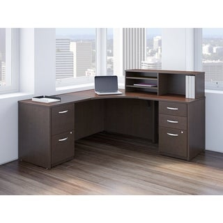 Bush Business Furniture Corner Desk with Returns and Storage in Cherry