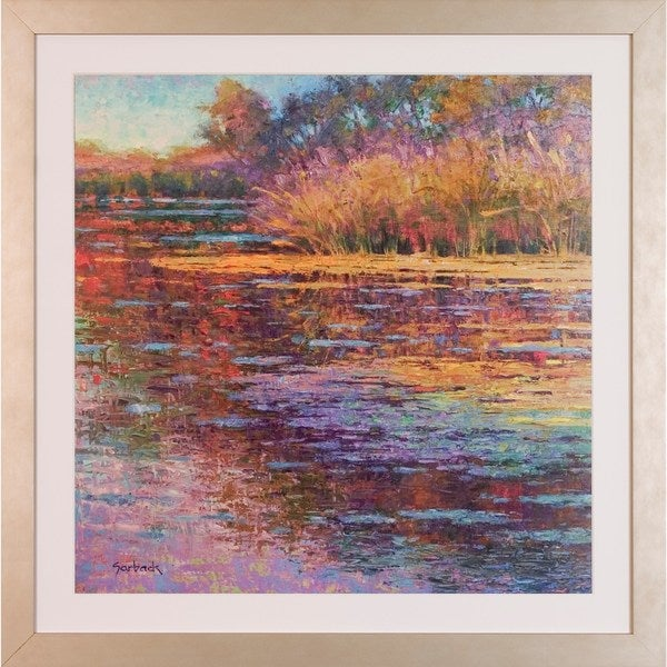Art Virtuoso Susan Sarback 'Sunlit Pond' Champagne Wood Framed Art Print