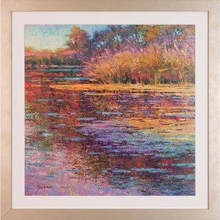 Art Virtuoso Susan Sarback 'Sunlit Pond' Champagne Wood Framed Art Print