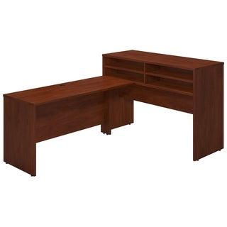 Bush Business Furniture Series C Elite Hansen Cherry Standing Height Desk Shell with Shelf Kit and Return