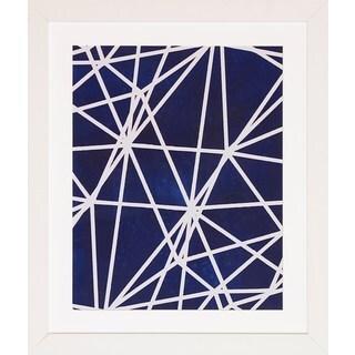 Brace Popp White/Indigo Wood Abstract Framed Art Print