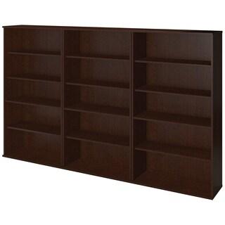 66H Series C Elite Bookcase Storage Wall in Mocha Cherry