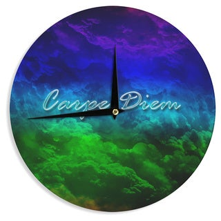 KESS InHouse Shirlei Patricia Muniz 'Carpe Diem' Digital Green Wall Clock