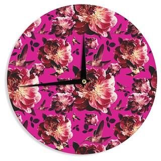 KESS InHouse Shirlei Patricia Muniz 'Floral' Magenta Photography Wall Clock