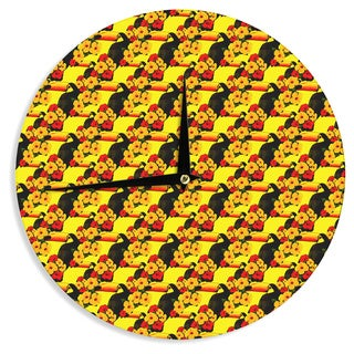 KESS InHouse Shirlei Patricia Muniz 'Love Toucans' Yellow Floral Wall Clock