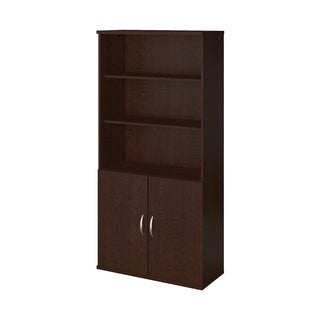 Bush Business Furniture Mocha Cherry 5-shelf Bookcase With Doors