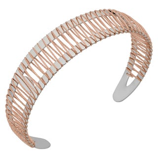 Argento Italia Rhodium Plated Sterling Silver 3.2-mm Ball End Open Cuff Bangle Bracelet