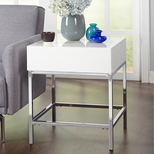 Elegant Simple Living White Metal High Gloss End Table