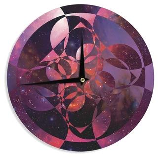 KESS InHouse Matt Eklund 'Galactic Brilliance Magenta' Pink Purple Wall Clock