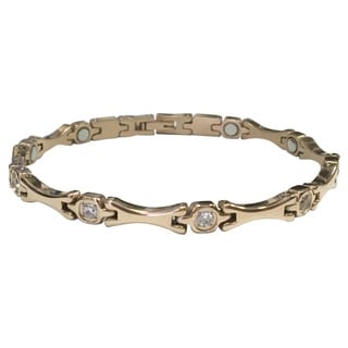 Stainless Steel and Crystal Magnetic Therapy Bracelet