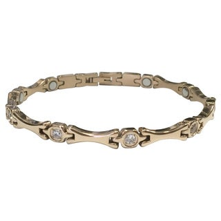 Stainless Steel and Crystal Magnetic Therapy Bracelet (2 options available)