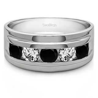 TwoBirch 14k White Gold Classic Men's Wedding Ring with Designer Shank With Black And White Diamonds(1 Cts.,
