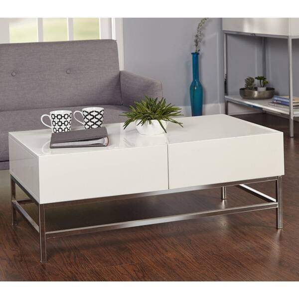 Shop Simple Living White Metal High Gloss Coffee Table Free