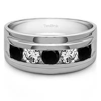 TwoBirch Sterling Silver Classic Men's Wedding Ring with Designer Shank With Black And White Diamonds(0.24 Ct