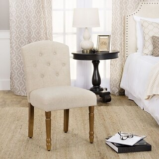 HomePop Delilah Button Tufted Dining Chair -Natural Linen -Single