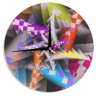 KESS InHouse Michael Sussna 'Sticker Thicket' Multicolor Wall Clock