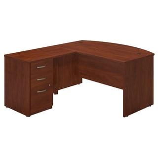 Series C Elite Hansen Cherry Front Desk with Return and 3-drawer Pedestal
