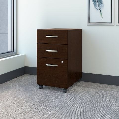 Series C 3 Drawer Mobile File Cabinet in Mocha Cherry