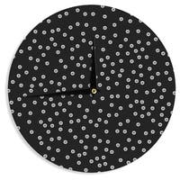 KESS InHouse Skye Zambrana 'Watercolor Dots' Black Wall Clock