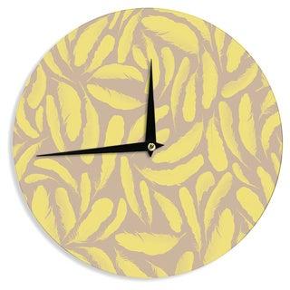 KESS InHouse Skye Zambrana 'Yellow Feather' Tan Gold Wall Clock
