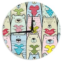 KESS InHouse Snap Studio 'Bear Hugs' Animal Illustration Wall Clock