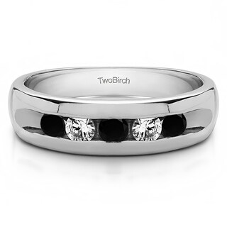 TwoBirch 10k White Gold Wide Channel Set Men's Ring With Black And White Diamonds(0.25 Cts., black, I1-I2)