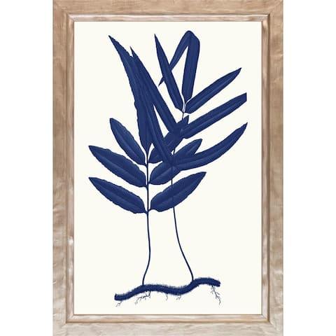 Art Virtuoso Fern Leaves Blue Wood Framed Art Print - Distressed Champagne Finish