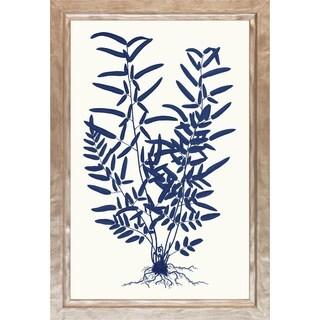 Art Virtuoso 'Blue Silhoutte Ferns' Wooden Framed Art Print