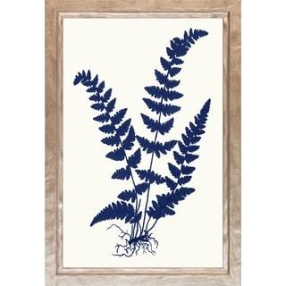 Art Virtuoso 'Blue Silhoutte Ferns' Silvertone Wood Framed Art Print