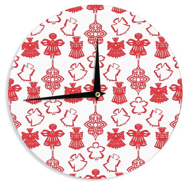 KESS InHouse Miranda Mol 'Angels Singing White' Red Holiday Wall Clock