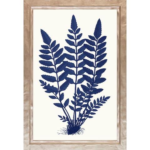 Blue Silhoutte Ferns' Framed Art Print - Distressed Champagne Finish