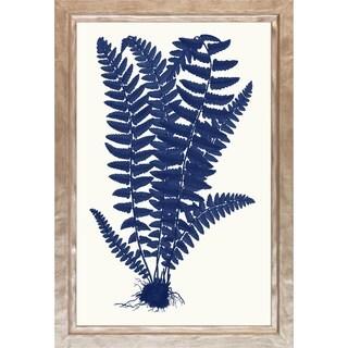 Art Virtuoso Blue Silhoutte Ferns Framed Art Print