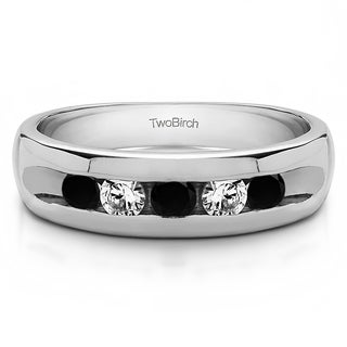 TwoBirch Sterling Silver Wide Channel Set Men's Ring With Black And White Diamonds(0.25 Cts., black, I1-I2)
